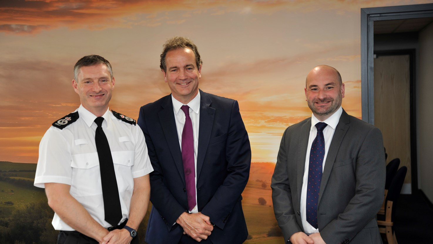 L-R CC Bill Skelly, Policing Minister Nick Hurd and PCC Marc Jones