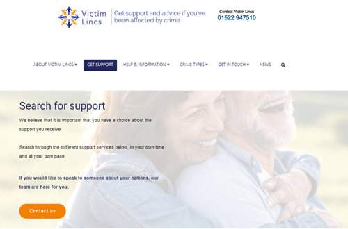 screen capture of the victims website showing that support and information is available on there